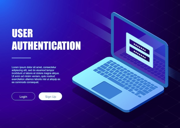 System of authentication template Premium Vector