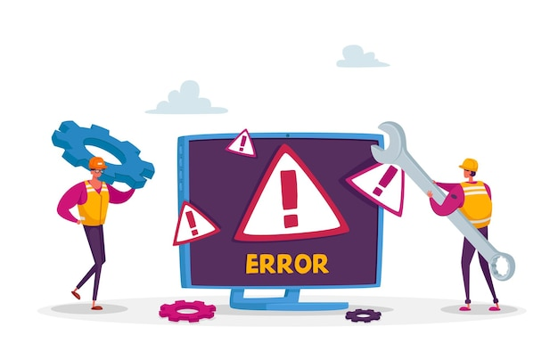 System error, website under construction. 404 page maintenance. tiny male workers characters in uniform with wrench repairing network problem Premium Vector