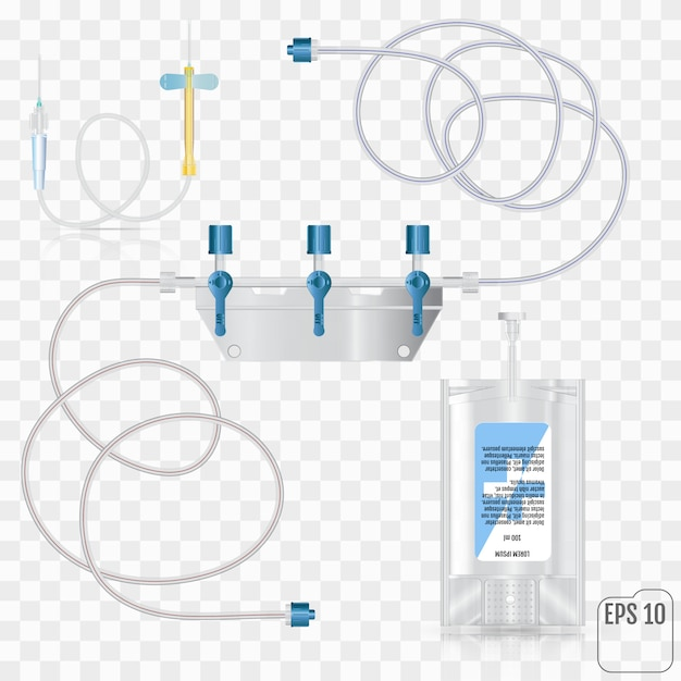 System for intravenous infusion with a reducer. Premium Vector