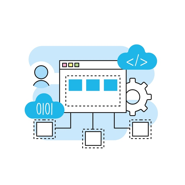 System programming technology with website code Premium Vector