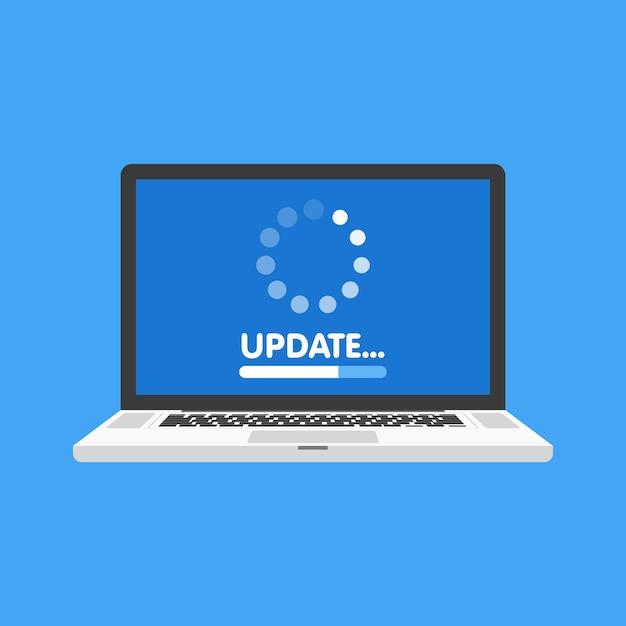 システムソフトウェアの更新とアップグレードの概念。ノートパソコンの画面にプロセスを読み込んでいます。図。 Premiumベクター