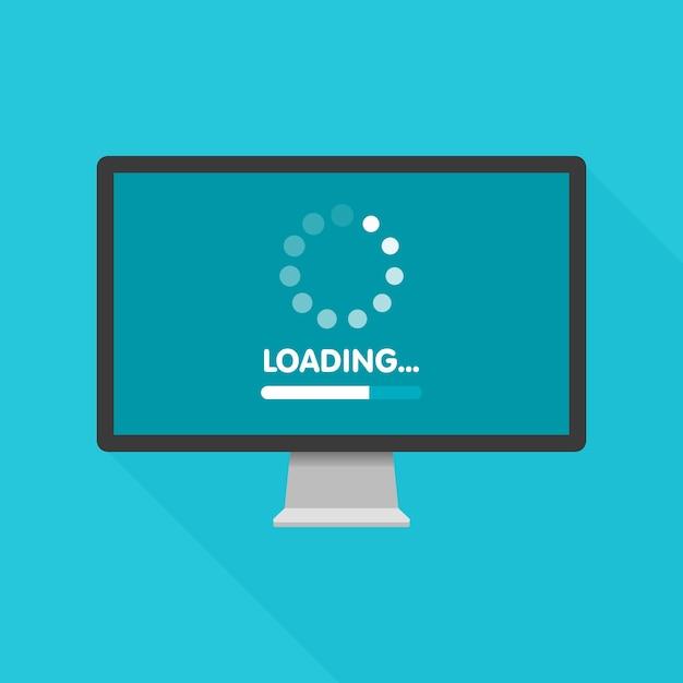 Обновление системного программного обеспечения и концепция обновления. процесс загрузки на экране монитора. иллюстрация. Premium векторы