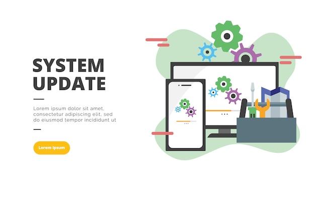 System update flat design banner illustration Premium Vector