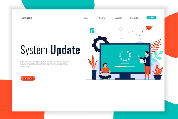 System update flat design with people Premium Vector