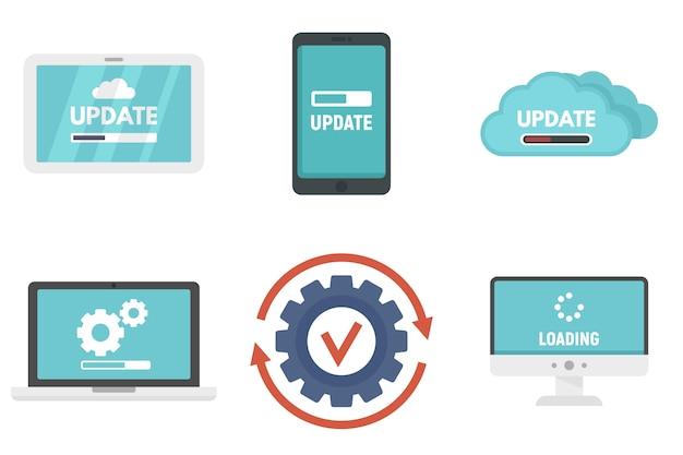 System update icons set Premium Vector