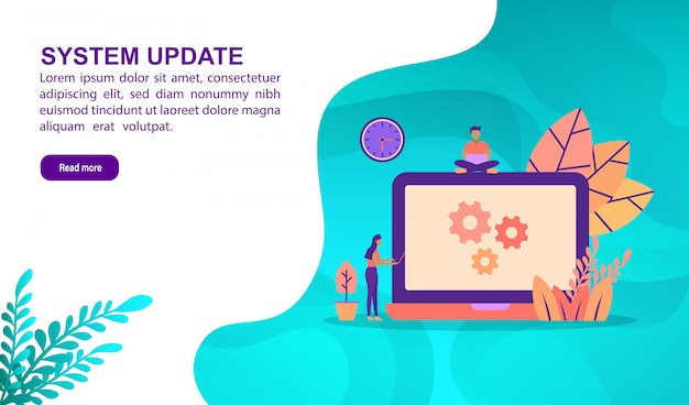 System update illustration concept with character. landing page template Premium Vector