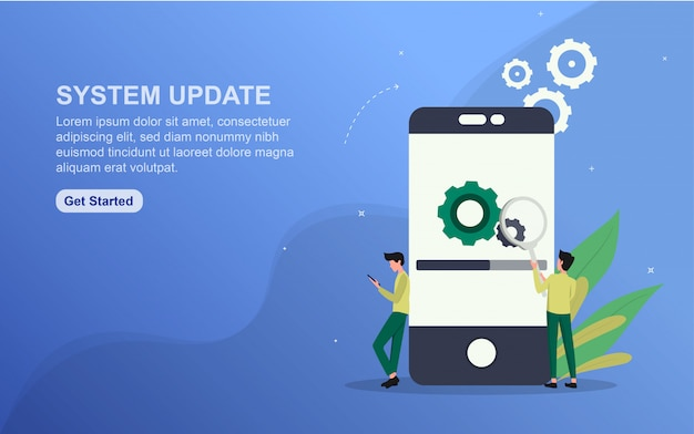 System update landing page template. flat design concept of web page design for website. Premium Vector