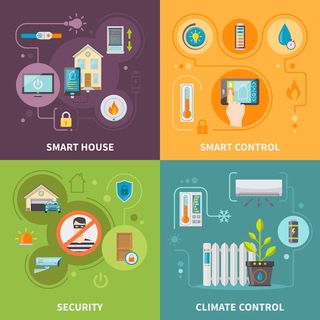 Sistemi di controllo in smart house Vettore gratuito