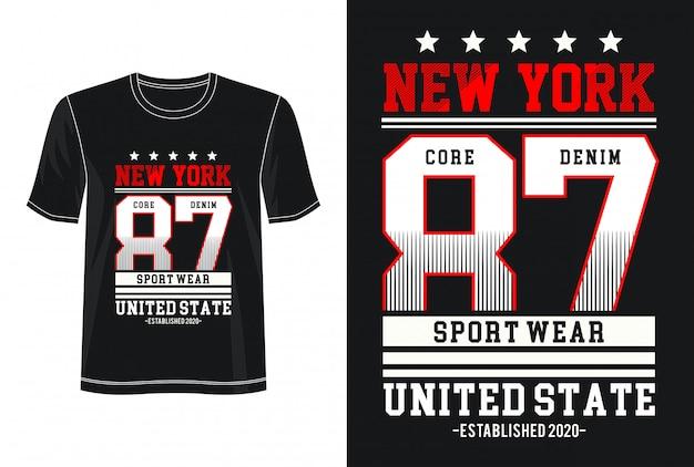 プリントtシャツのニューヨーク87タイポグラフィ Premiumベクター