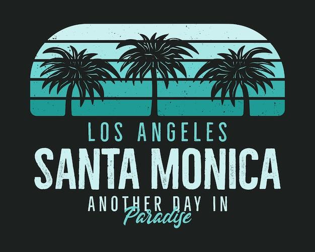 Tシャツのサンタモニカビーチグラフィック、プリント。ビンテージロサンゼルス手描き90年代スタイルのエンブレム。 Premiumベクター