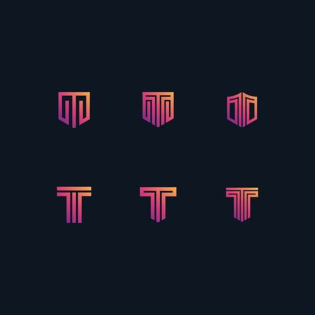 T logo set in gradients color Premium Vector