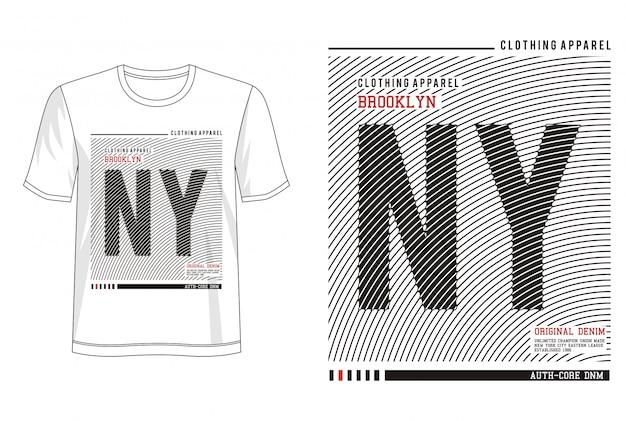 Tシャツのnyタイポグラフィ Premiumベクター