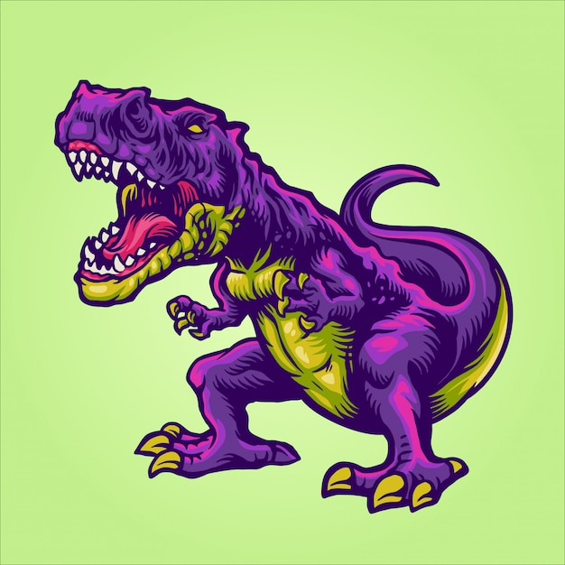 T rex cartoon character Premium Vector