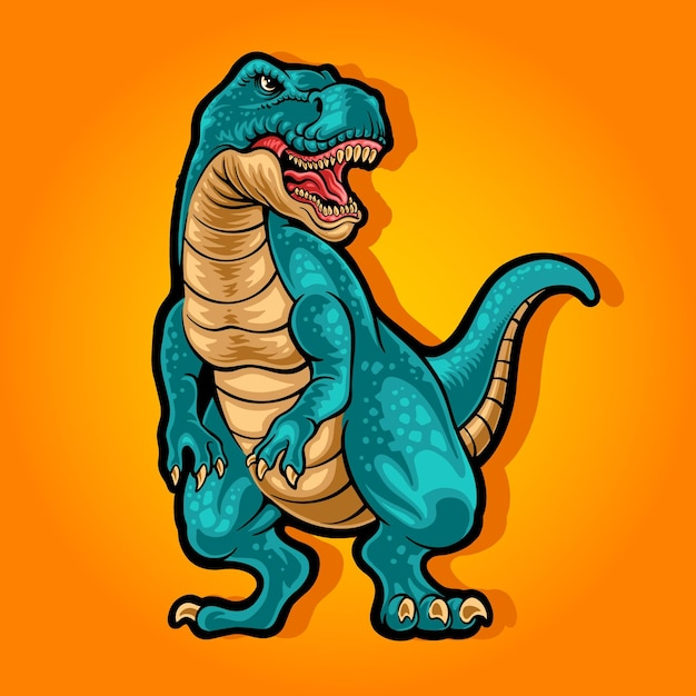 T-rex cartoon mascot illustration Premium Vector