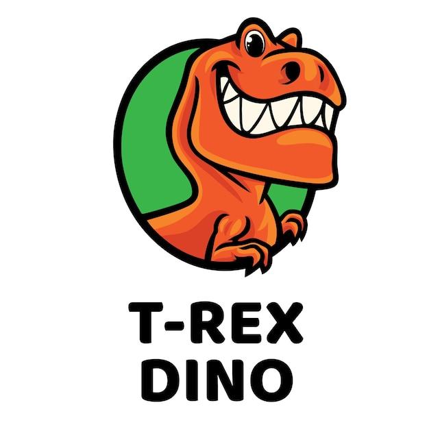 Логотип талисмана t-rex dino Premium векторы
