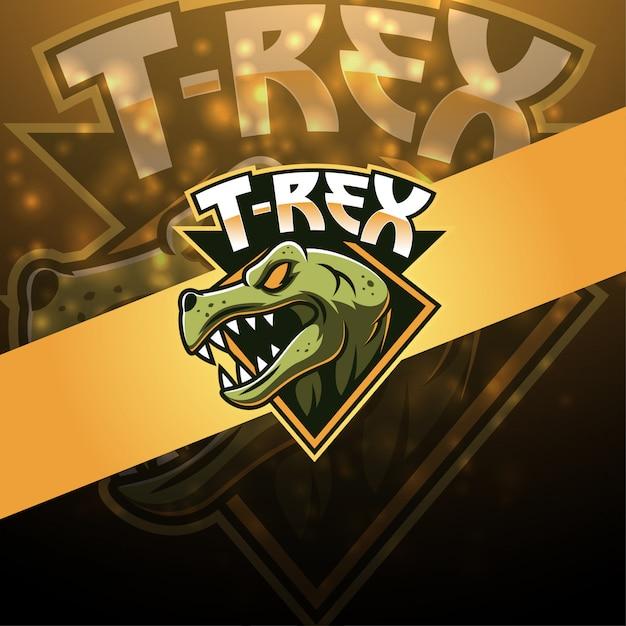 Tレックスeスポーツマスコットロゴデザイン Premiumベクター