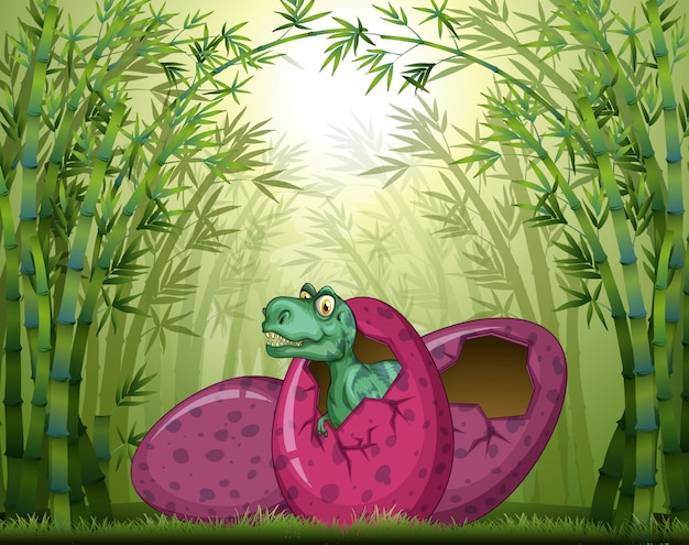 T-rex hatching egg in bamboo forest Free Vector