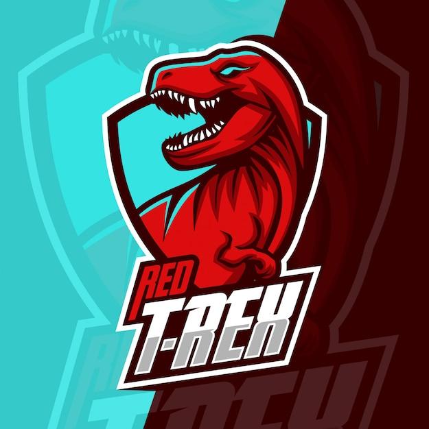 T-rex mascot esport logo design Premium Vector