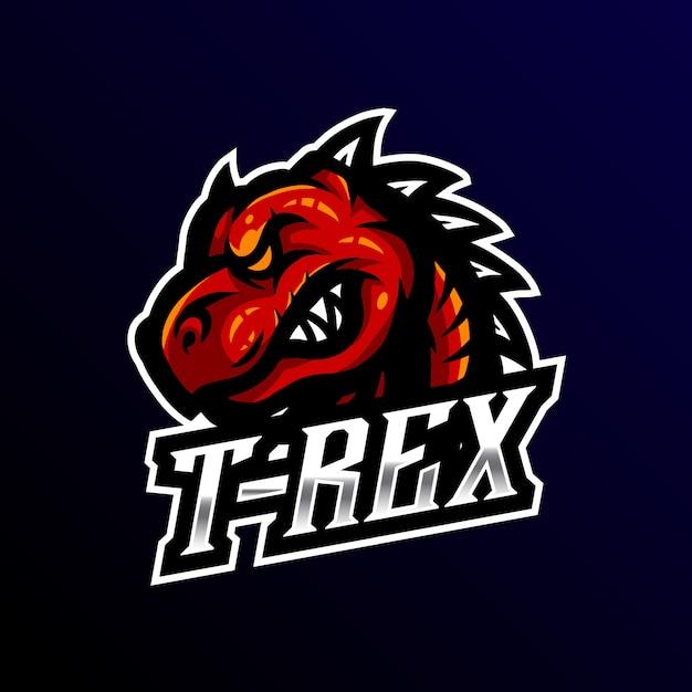 T-rex mascot logo esport gaming Premium Vector