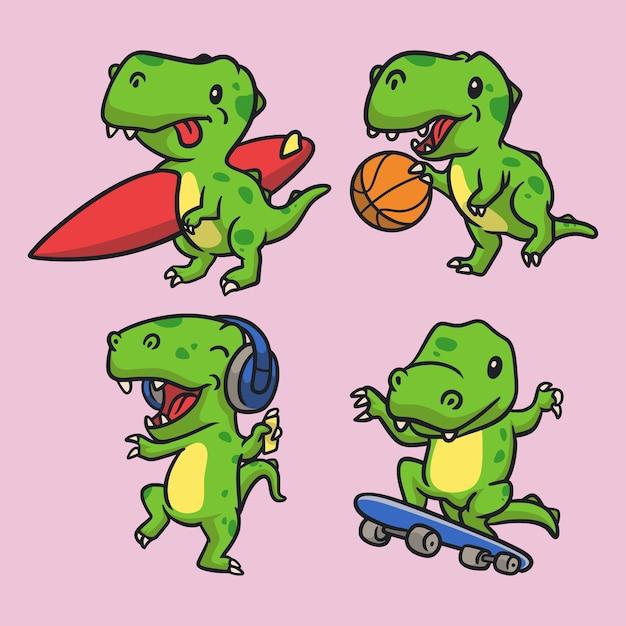 Tレックスサーフィン、tレックスバスケットボール、tレックス音楽を聴く、tレックススケートボードの動物のロゴのマスコットイラストパック Premiumベクター