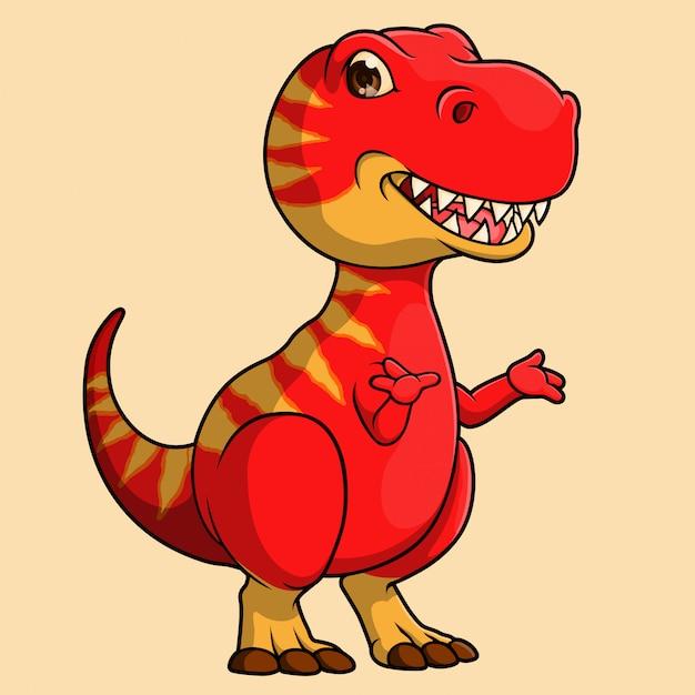 Ручной обращается милый динозавр t-rex, вектор Premium векторы