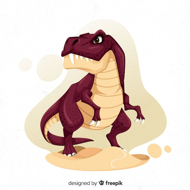 手描きの恐竜t-rex 無料ベクター