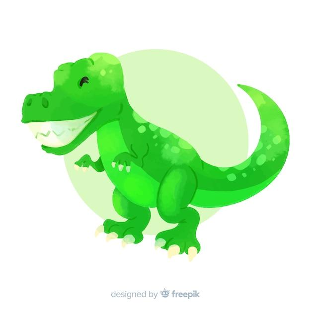 Акварель t-rex фон динозавра Бесплатные векторы