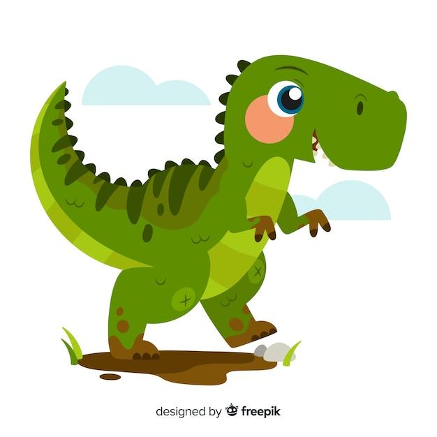 Плоский фон динозавров t-rex Бесплатные векторы