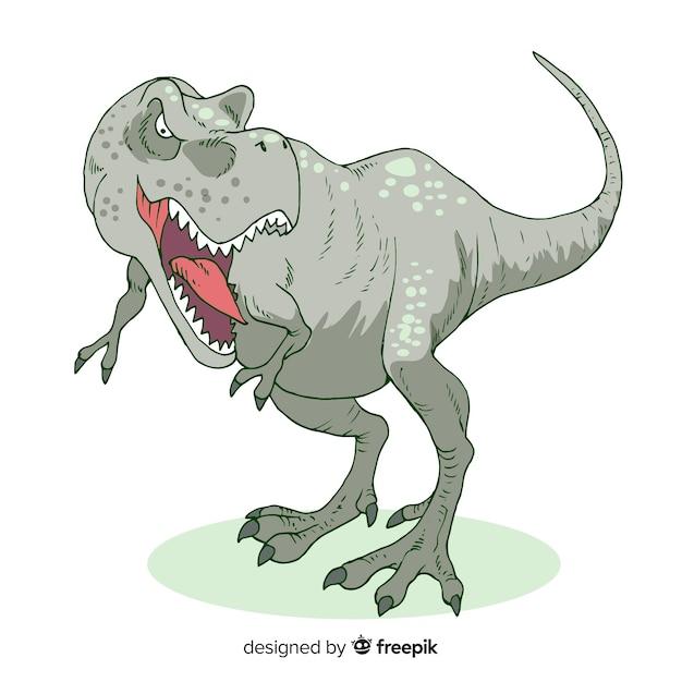 Ручной обращается фон t-rex Бесплатные векторы