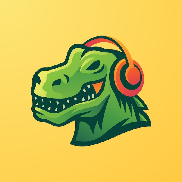 ヘッドフォンマスコットロゴを使用したt-rex Premiumベクター