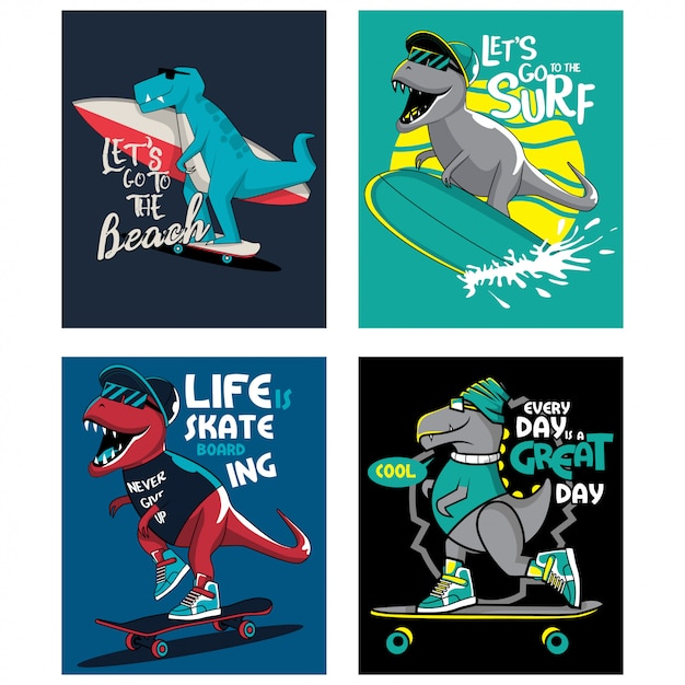 T-rex恐竜サーフィン、スケート、子供向けイラスト集 Premiumベクター