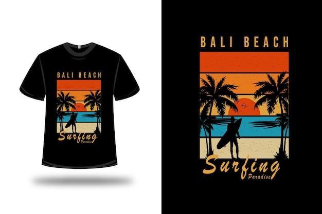 T-shirt bali beach surfing paradise on orange blue and yellow Premium Vector