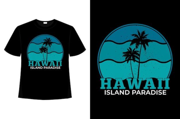 Tシャツビーチハワイ島パラダイス Premiumベクター