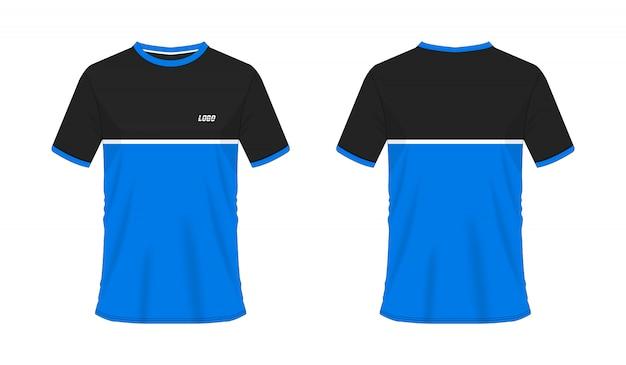 Футболка синий и черный футбол или футбол джерси спорт, иллюстрация Premium векторы