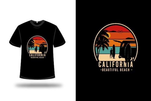 Tシャツカリフォルニア美しいビーチカラーオレンジグリーンとクリーム Premiumベクター