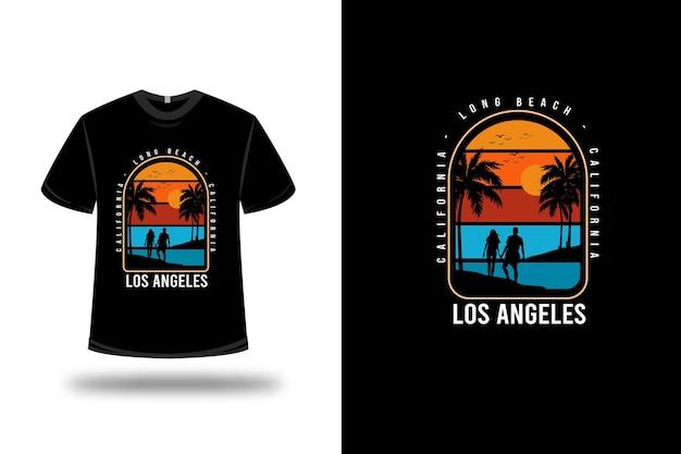 티셔츠 캘리포니아 롱 비치 로스 앤젤레스 컬러 오렌지 옐로우 및 블루 프리미엄 벡터