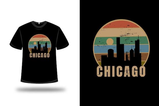 Футболка chicago city цвет оранжевый кремовый и зеленый Premium векторы