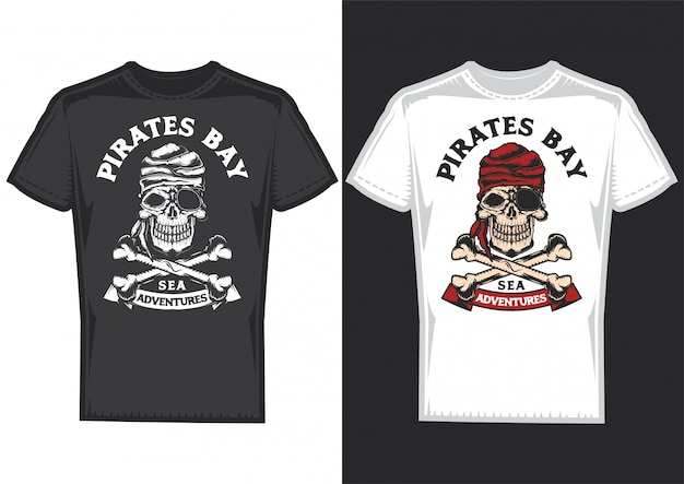 T-shirt design on 2 t-shirts with posters of pirats with bones. Free Vector