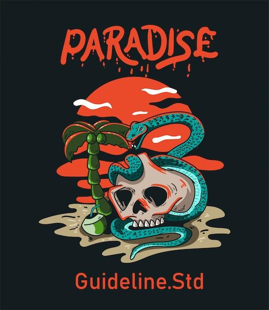 T-shirt design character skull and snake paradise vintage Premium Vector