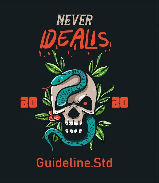 T-shirt design character skull and snake vintage Premium Vector