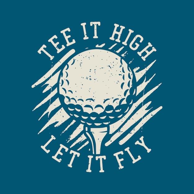 T 셔츠 디자인 차라리 골프 스틱 빈티지 일러스트와 함께 골프를 치고 싶습니다. 프리미엄 벡터