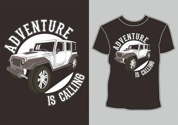 T shirt design jeep off road 4x4 Premium Vector