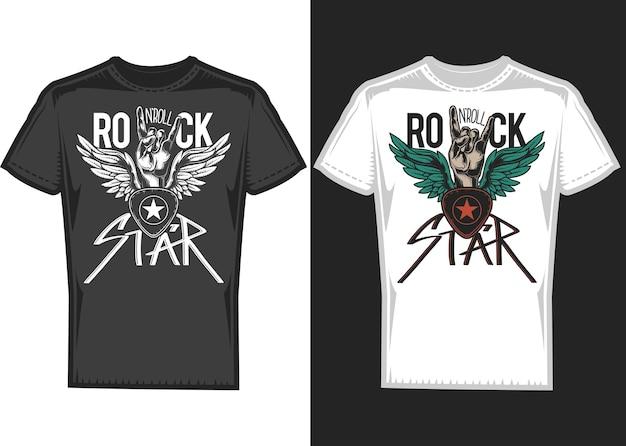 Дизайн футболки на 2 футболках с руками и крыльями. Бесплатные векторы