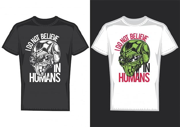 Дизайн футболки на 2-х футболках с постерами алейн. Бесплатные векторы