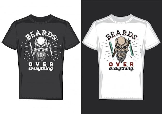 2枚のtシャツに理髪店の頭蓋骨のポスターが描かれたtシャツのデザイン。 無料ベクター