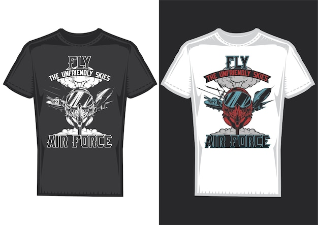 T-shirt design samples with illustration of air forces Free Vector