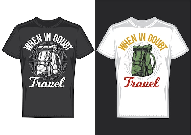 T-shirt design samples with illustration of a camping backpack. Free Vector