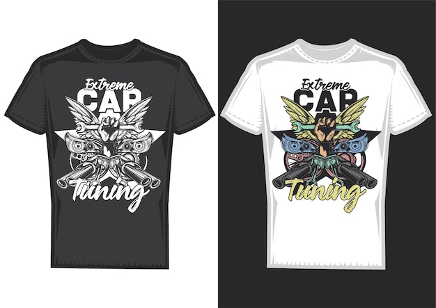 T-shirt design samples with illustration of car tuning Free Vector