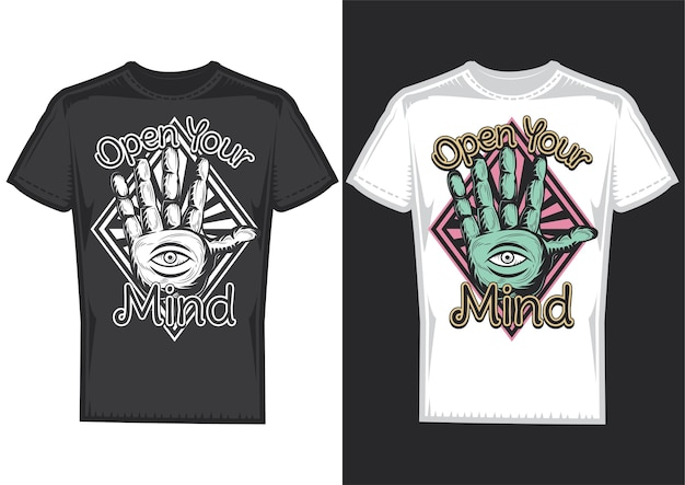 T-shirt design samples with illustration of guessing on arm design. Free Vector