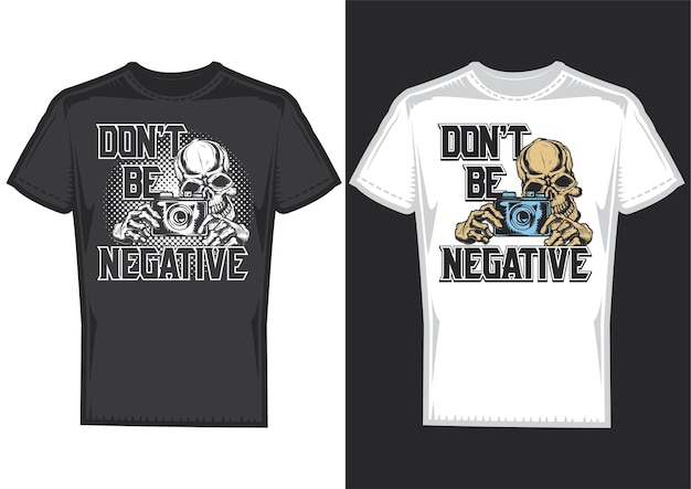 T-shirt design samples with illustration of a photographer skull with camera. Free Vector